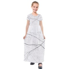 White Background Pattern Tile Kids  Short Sleeve Maxi Dress by Sapixe