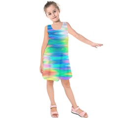 Wave Rainbow Bright Texture Kids  Sleeveless Dress
