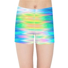 Wave Rainbow Bright Texture Kids Sports Shorts