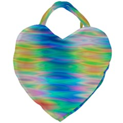 Wave Rainbow Bright Texture Giant Heart Shaped Tote by Sapixe