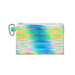 Wave Rainbow Bright Texture Canvas Cosmetic Bag (small)