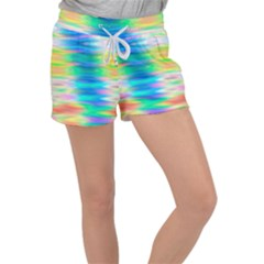 Wave Rainbow Bright Texture Women s Velour Lounge Shorts