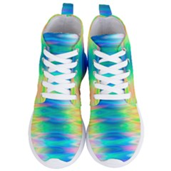 Wave Rainbow Bright Texture Women s Lightweight High Top Sneakers by Sapixe