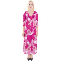 Background Flowers Texture Love Quarter Sleeve Wrap Maxi Dress