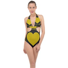 Background Heart Romantic Love Halter Front Plunge Swimsuit