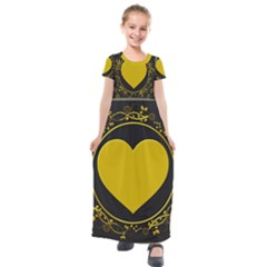 Background Heart Romantic Love Kids  Short Sleeve Maxi Dress by Sapixe