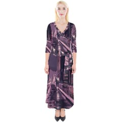 Texture Abstract Background City Quarter Sleeve Wrap Maxi Dress