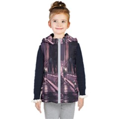 Texture Abstract Background City Kid s Hooded Puffer Vest