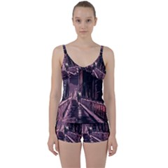 Texture Abstract Background City Tie Front Two Piece Tankini