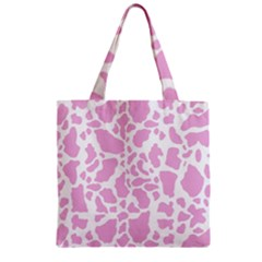 White Pink Cow Print Zipper Grocery Tote Bag