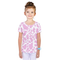 White Pink Cow Print Kids  One Piece Tee