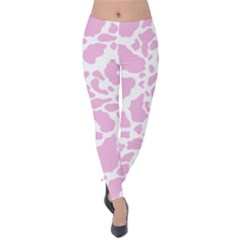 White Pink Cow Print Velvet Leggings by LoolyElzayat