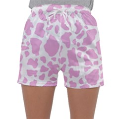 White Pink Cow Print Sleepwear Shorts by LoolyElzayat