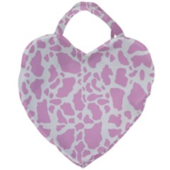 White Pink Cow Print Giant Heart Shaped Tote