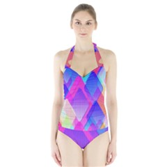 Squares Color Squares Background Halter Swimsuit