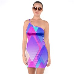 Squares Color Squares Background One Soulder Bodycon Dress