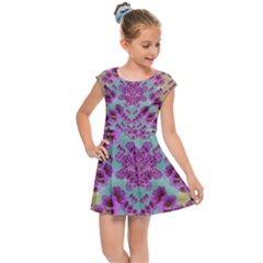 Climbing And Loving Beautiful Flowers Of Fantasy Floral Kids Cap Sleeve Dress by pepitasart