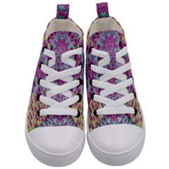Climbing And Loving Beautiful Flowers Of Fantasy Floral Kid s Mid Top Canvas Sneakers