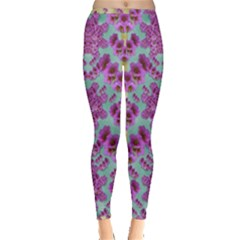 Climbing And Loving Beautiful Flowers Of Fantasy Floral Inside Out Leggings