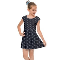 Geometric Pattern Dark Kids Cap Sleeve Dress