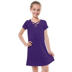 Dark Tech Fruit Pattern Kids  Cross Web Dress