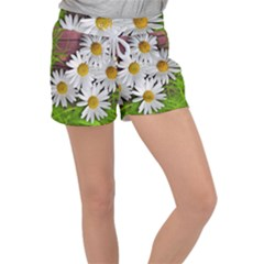 Flowers Flower Background Design Women s Velour Lounge Shorts