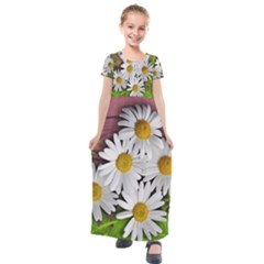 Flowers Flower Background Design Kids  Short Sleeve Maxi Dress by Sapixe