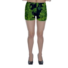 Decoration Green Black Background Skinny Shorts by Sapixe