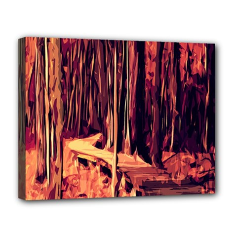 Forest Autumn Trees Trail Road Canvas 14  X 11  by Sapixe