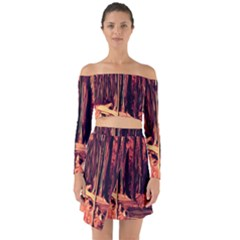 Forest Autumn Trees Trail Road Off Shoulder Top With Skirt Set