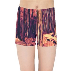 Forest Autumn Trees Trail Road Kids Sports Shorts by Sapixe