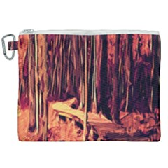 Forest Autumn Trees Trail Road Canvas Cosmetic Bag (xxl)