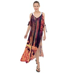 Forest Autumn Trees Trail Road Maxi Chiffon Cover Up Dress by Sapixe