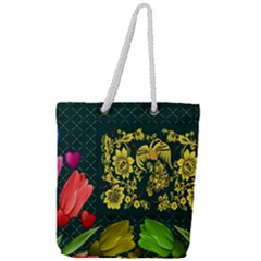 Background Reason Tulips Colors Full Print Rope Handle Tote (large)
