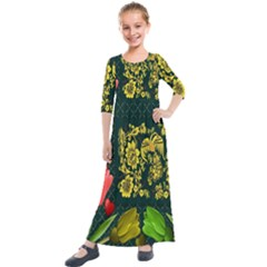 Background Reason Tulips Colors Kids  Quarter Sleeve Maxi Dress by Sapixe