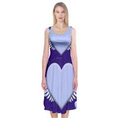 Background Texture Heart Wings Midi Sleeveless Dress by Sapixe