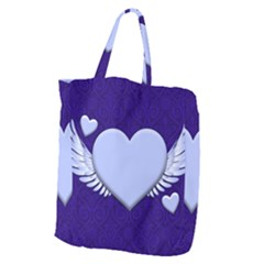 Background Texture Heart Wings Giant Grocery Zipper Tote