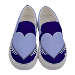 Background Texture Heart Wings Women s Canvas Slip Ons