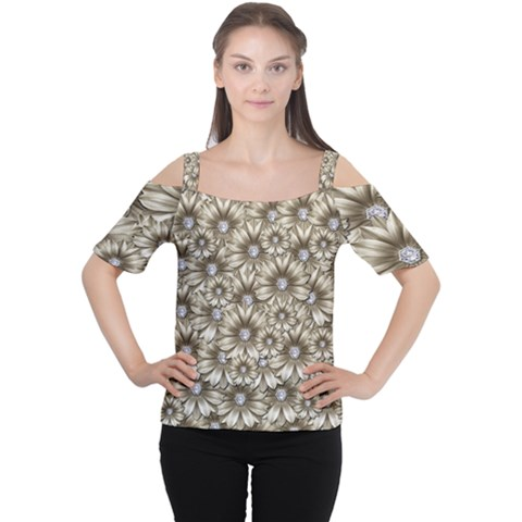 Background Flowers Cutout Shoulder Tee by Sapixe