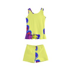 Embroidery Dab Color Spray Kid s Boyleg Swimsuit