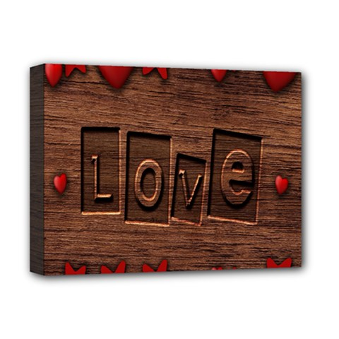 Background Romantic Love Wood Deluxe Canvas 16  X 12   by Sapixe