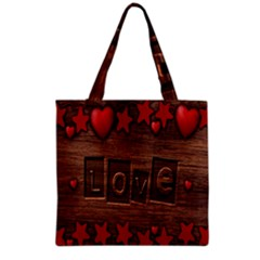 Background Romantic Love Wood Grocery Tote Bag by Sapixe