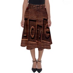 Background Romantic Love Wood Perfect Length Midi Skirt
