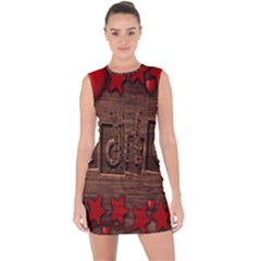 Background Romantic Love Wood Lace Up Front Bodycon Dress