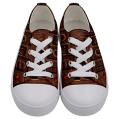 Background Romantic Love Wood Kids  Low Top Canvas Sneakers