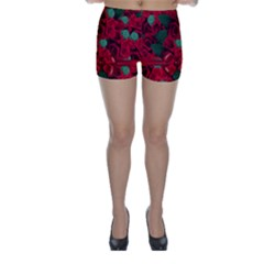 Floral Flower Pattern Art Roses Skinny Shorts by Sapixe