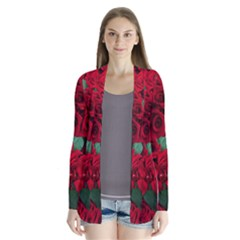 Floral Flower Pattern Art Roses Drape Collar Cardigan by Sapixe
