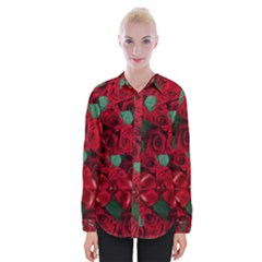 Floral Flower Pattern Art Roses Womens Long Sleeve Shirt