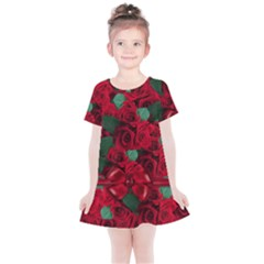 Floral Flower Pattern Art Roses Kids  Simple Cotton Dress by Sapixe
