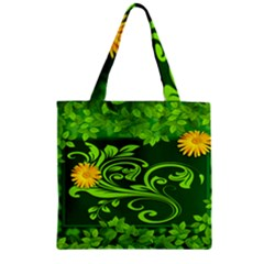 Background Texture Green Leaves Zipper Grocery Tote Bag by Sapixe
